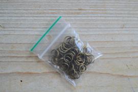 Bronzen ringetjes split 8 mm ca. 40 stuks