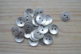 Metalen knoop '2 gaatjes' ca. 16 mm per 2 stuks