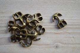 Bronskleurige leer anker extra groot ca. 19 x 29 mm per stuk