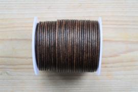 Rundleer 2 mm Vintage Donkerbruin per meter