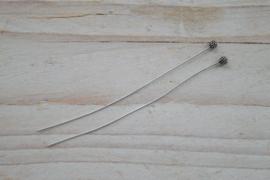 Nietstift sterling zilver met versiering ca. 65 mm (per 2)