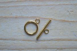 RVS Gold plated kapittelsluiting ca. 15 x 20 mm