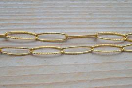 RVS goldplated jasseron gehamerd per 10 cm