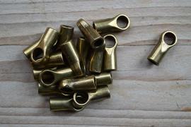 Bronskleurige eindkapje 5 mm ca. 9 x 20 mm per stuk