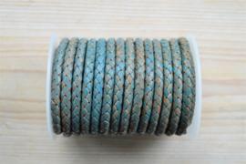 Rondgevlochten leer 6 mm Vintage Turquoise per 10 cm