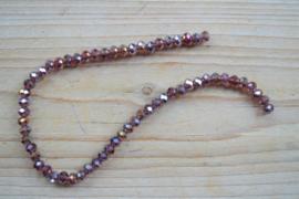 Kristalstreng lila AB glans gefacetteerde rondellen ca. 4 x 6 mm