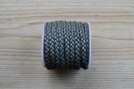 Plat gevlochten rundleer 5 mm Grijs per 10 cm