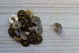 Bronskleurige knoop 'klein' ca. 14 mm per 2 stuks