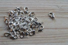 Metalen karabijnsluiting verzilverd ca. 11 x 18 mm per 4 stuks
