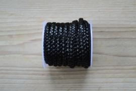 Plat gevlochten rundleer 5 mm Zwart per 10 cm