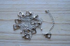Metalen karabijnsluiting Hart ca. 12 mm per stuk