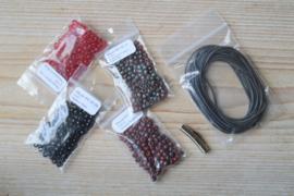 DIY Pakket Armband J 3-Wikkelarmband Rood/Zwart