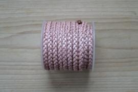Plat gevlochten rundleer 5 mm Metallic Roze per 10 cm