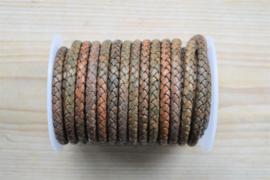 Rondgevlochten leer 6 mm Groenbruin per 10 cm