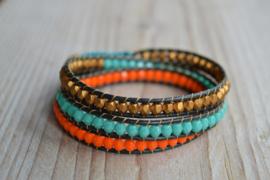3-Wraparmband Goud/Turquoise/Oranje
