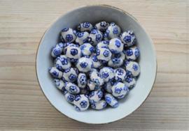 Delft Blaue Perle mit Blumen ca. 16 x 16 mm (pro Stück)