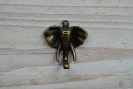 Bronzen hanger olifant klein ca. 33 X 35 mm
