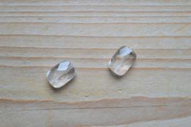 Bergkristal gefacetteerde platte rechthoekjes ca. 10 x 14 mm A klasse per 2