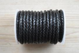 Rondgevlochten leer 6 mm Zwart per 10 cm