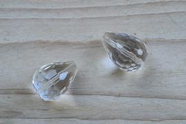 Bergkristal  gefacetteerde ronde druppels A klasse ca. 15 x 20 mm per 2