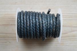 Rondgevlochten leer 6 mm Vintage Blauw per 10 cm