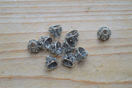 Kraalkap sterling zilver ca. 9,5 x 9,5 x 7,5 mm (per 2)
