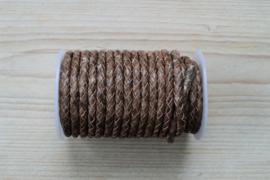 Rundgeflochtenes leder 5 mm Gemischt Braun pro 10 cm