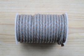 Rondgevlochten leer 5 mm Grijs per 10 cm