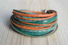 Leather Wrap XL Cognac/Turquoise