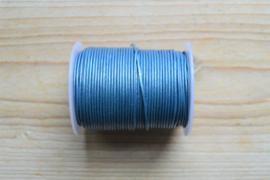 Rundleer 1 mm Metallic Blauw per meter