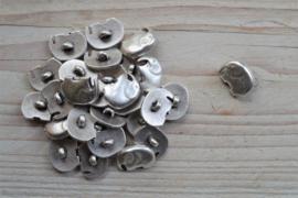Metalen knoop 'olifant' ca. 13 x 17 mm per 2 stuks