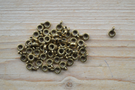 Bronskleurige bedelhanger ca. 7 x 10 mm per 5 stuks