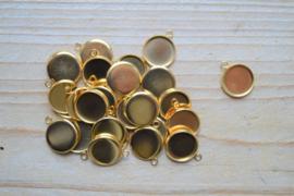 RVS Gold plated cabochonhouder ca. 13 x 16 mm per stuk