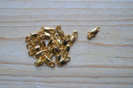 Goudkleurige karabijnslotjes ca. 6 x 12 mm per 3 stuks