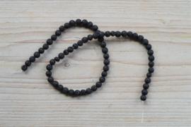Zwart lavasteen ronde kralen 6 mm