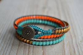 3-Wraparmband Gold/Turquoise/Orange