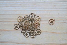 RVS Gold plated bedel wave ca. 10 x 12 mm per stuk