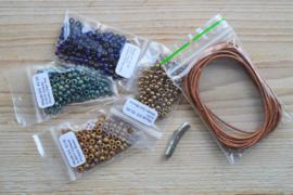 DIY Pakket Armband D 3-Wikkelarmband Bruin/Blauw