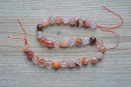 Hematoïde Kwarts/Red Healer gefacetteerde ronde kralen ca. 12 mm