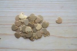 RVS Gold plated bedel hart ca. 10 mm per stuk