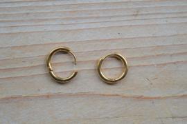 RVS Gold plated Creolen 16 mm per paar