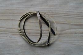Plat glitterleer 5 mm Zilver/Bruin per 10 cm