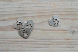 Metalen hanger hart met klavertje 4 ca. 20 x 23 mm per stuk