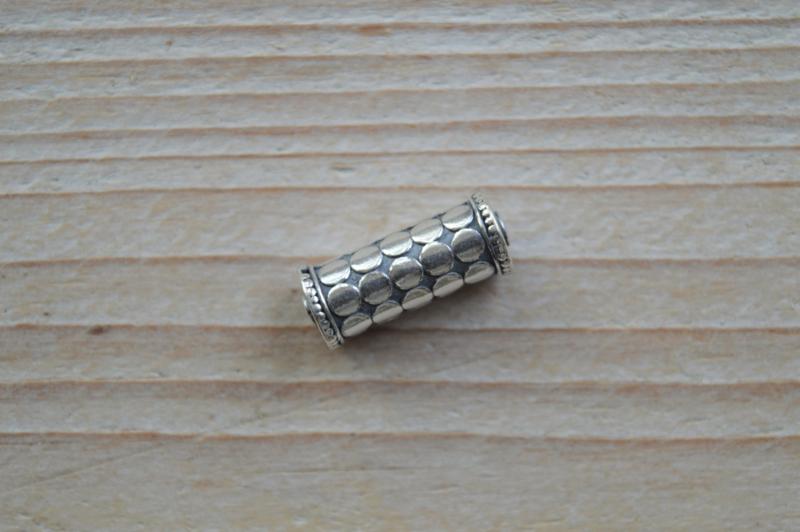 Kraal sterling zilver ca. 19 x 7 mm