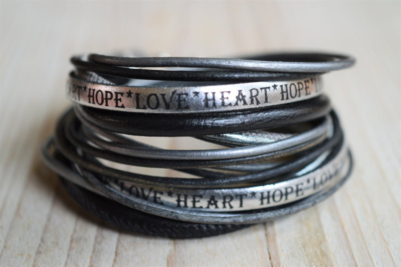 Leather Wrap XL Hope Heart Love
