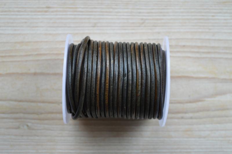 Rindleder 3 mm Vintage Braun/grun pro meter