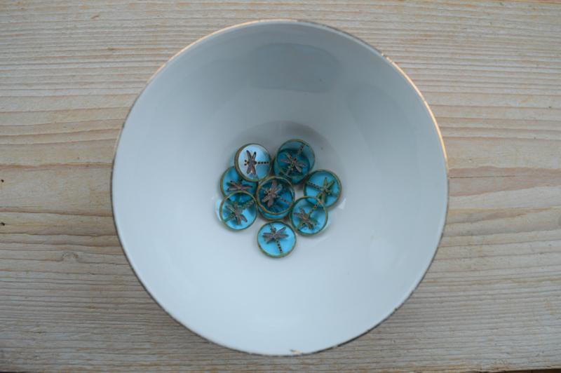Libelle/Dragonfly Table Cut Bead Turquoise Green Transparant ca. 17x4mm per stuk
