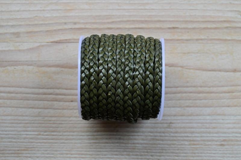 Flaches geflochtenes rindleder 5 mm Armee Grün pro 10 cm