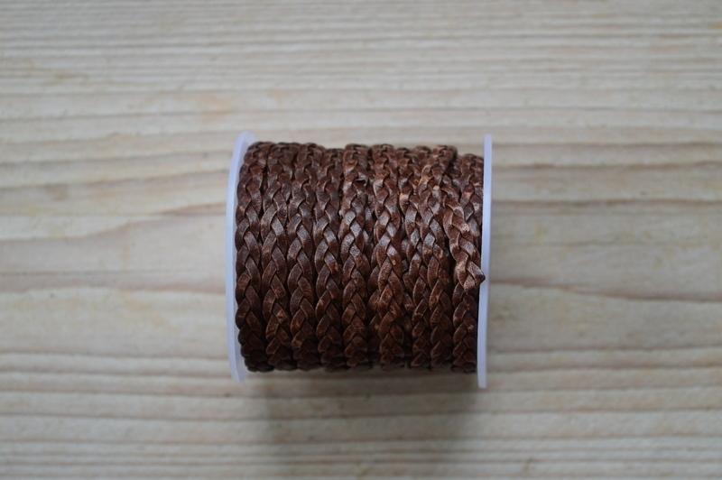 Flaches geflochtenes rindleder 5 mm Braun pro 10 cm