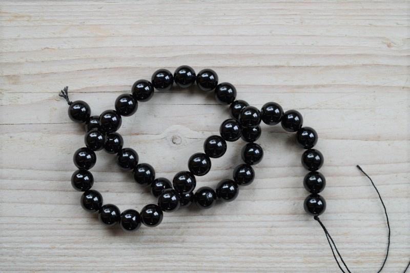 Schwarze Turmalin runde perlen 10 mm